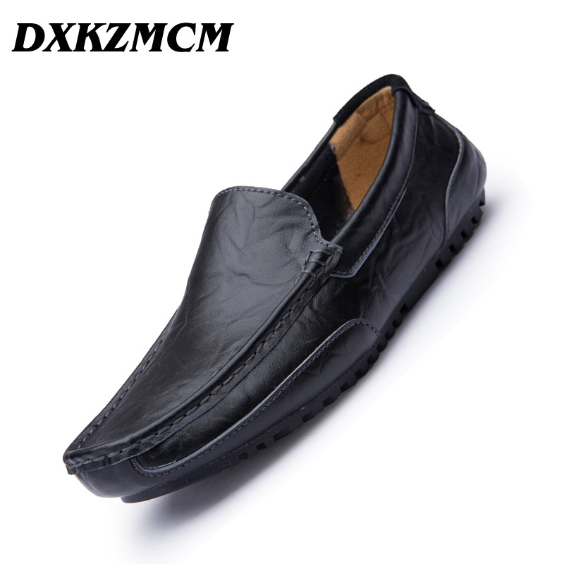 DXKZMCM Handmade Men's Loafers Moccasins Slip On Shoes Men Casual Shoe Split Leather Driving Boat Flats Shoes casual high quality men s suede leather slip on loafers driving shoes fahion boat shoe mens handmade moccasins f40