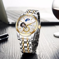 Tevise Automatic Men Mechanical Watch Brand Luxury Stainless Steel Mens Business Wrist Watches Moon Phase Luminous
