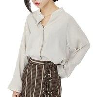 2017 Spring Autumn Women Chiffon Blouses V Neck Long Sleeve Solid Women Shirts Fashion Design White