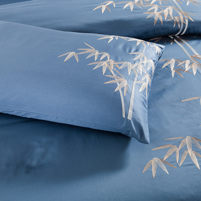 Natural Egyptian Cotton Bedding Set with Embroidery