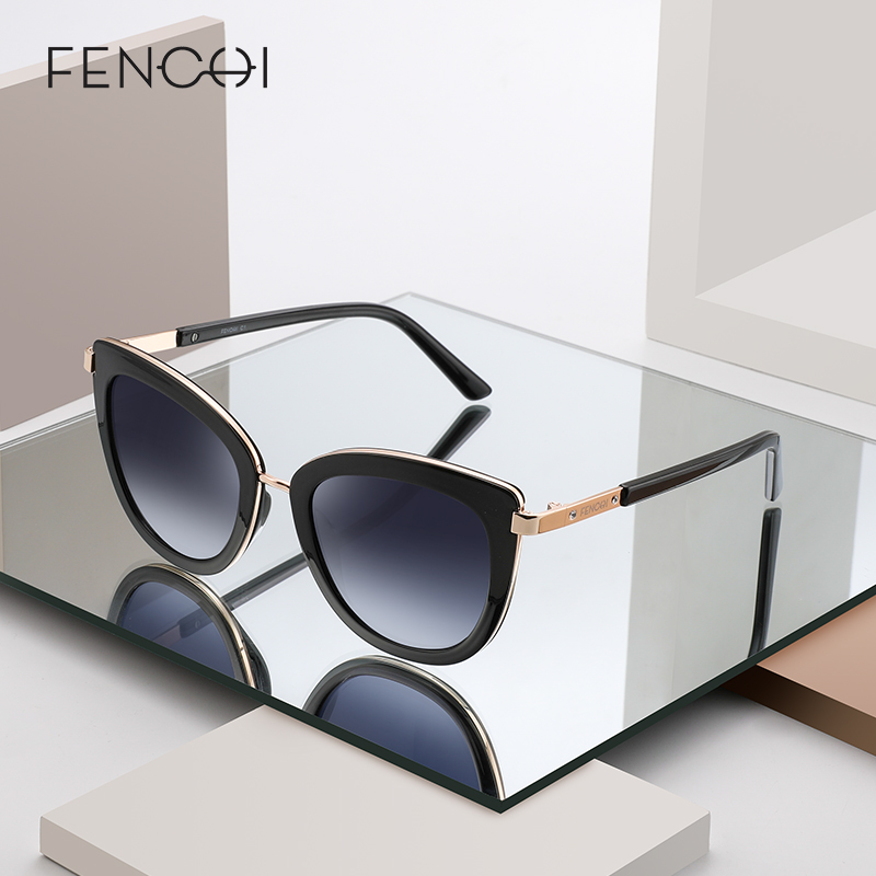 FENCHI cat eye women sunglasses female sun glasses black white brand designer vintage punk oculos de sol feminino lunettes|Women's Sunglasses| - AliExpress