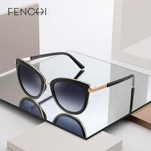 FENCHI-gafas de sol de estilo ojo de gato para mujer, anteojos de sol femeninos en color blanco y negro, de marca de diseñador, Estilo vintage punk