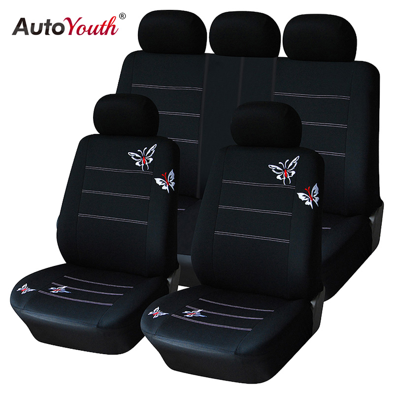 AUTOYOUTH Butterfly Embroidery Car Seat Cover Set Universal Fit Most Car Interior Accessories Black Seat Covers Car Accessories kkysyelva universal leather car seat cover set for toyota skoda auto driver seat cushion interior accessories