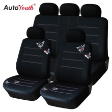 AUTOYOUTH Butterfly Embroidery Car Seat Cover Set Universal Fit Most Car Interior Accessories Black Seat Covers Car Accessories