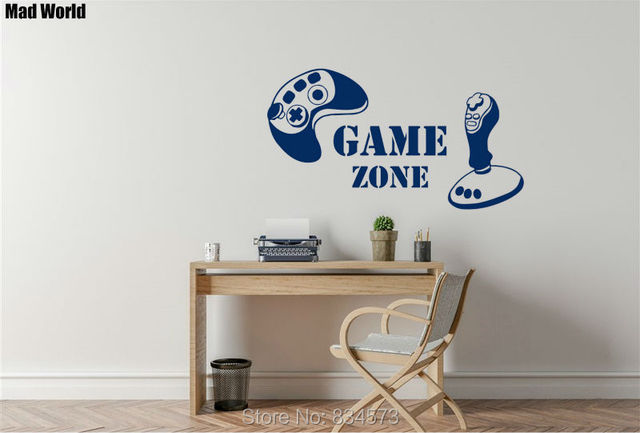 Mad World Game Zone Game Controller Silhouette Wall Art Stickers Wall Decal  Home DIY Decoration