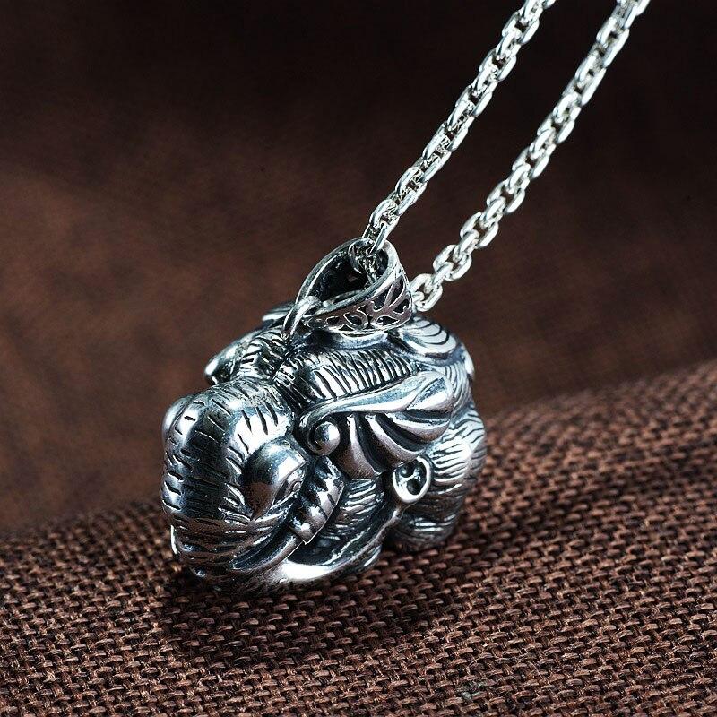 FNJ 925 pendentif éléphant en argent Punk pendentif Original pur S925 Thai argent pendentifs pour femmes fabrication de bijoux