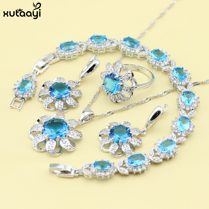 XUTAAYI Top Flowers Sterling Silver Overlay Jewelry Sets Blue Created Topaz Pleasant Necklace font b Rings