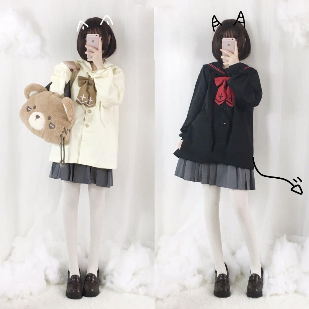 Devil or Angel? Cute Women's Shirt Japanese JK School Uniform Style Sailor Collar Embroidery Blouse & Cross Bowtie Preppy Style