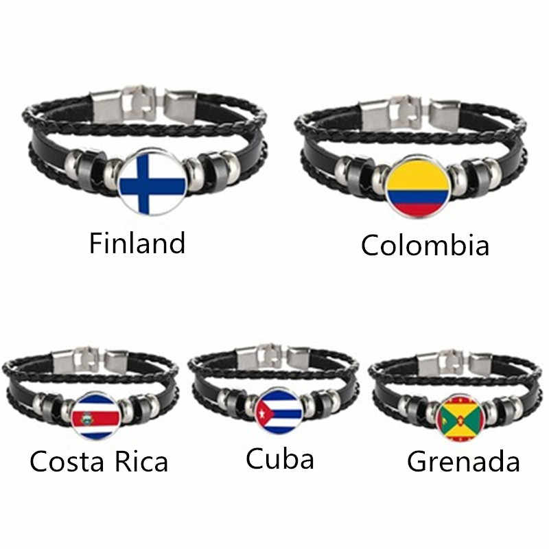 Finland Colombia Costa Rica Cuba Grenada Flag Multilayer Leather Bracelet Fashion Bracelet Men and Women Jewelry