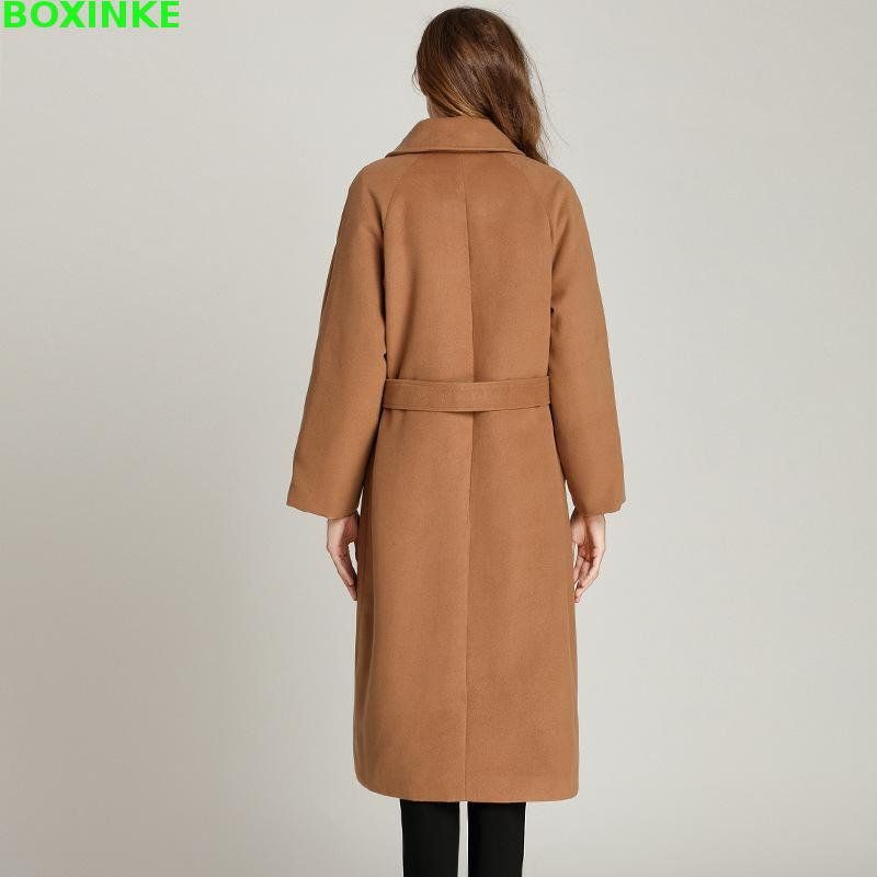 Real New Full Long Solid Bayan Kaban Coats Star With A Female Hair Coat Nedong Loose All match Warm Reduction Cardigan in Wool amp Blends from Women 39 s Clothing