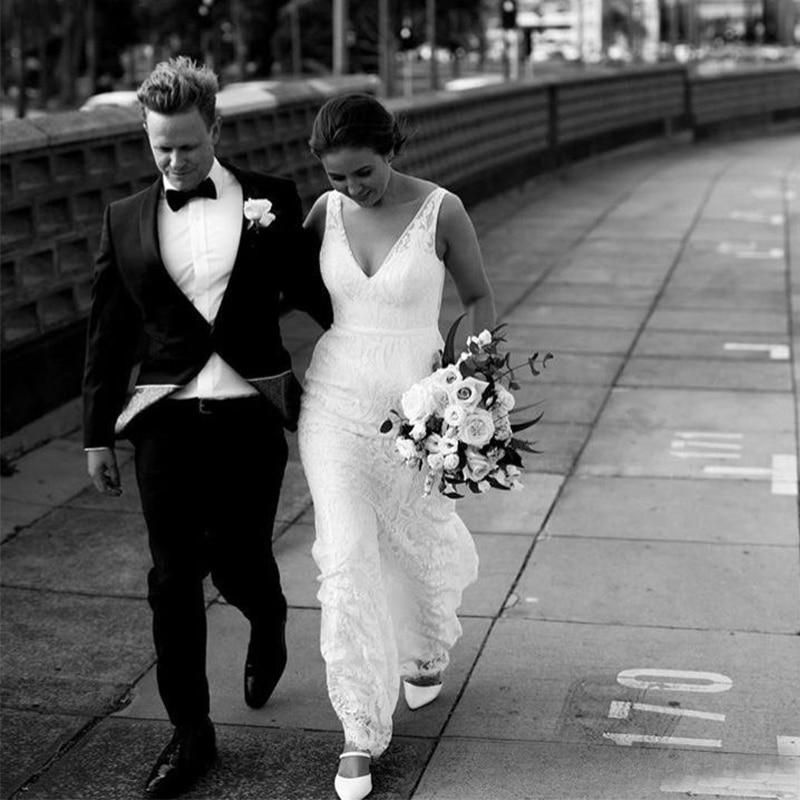 New Arrival Beach Wedding Dresses Mermaid V Neck Backless Sweep Train Lace Wedding Dress Garden Boho Wedding Bridal Gowns