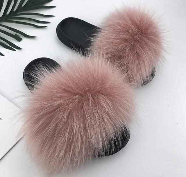 Hot Sale Fur Slippers Women Fox Home Fluffy Sliders Comfort With Feathers Furry Summer Flats Sweet Ladies Shoes Size 45 Home