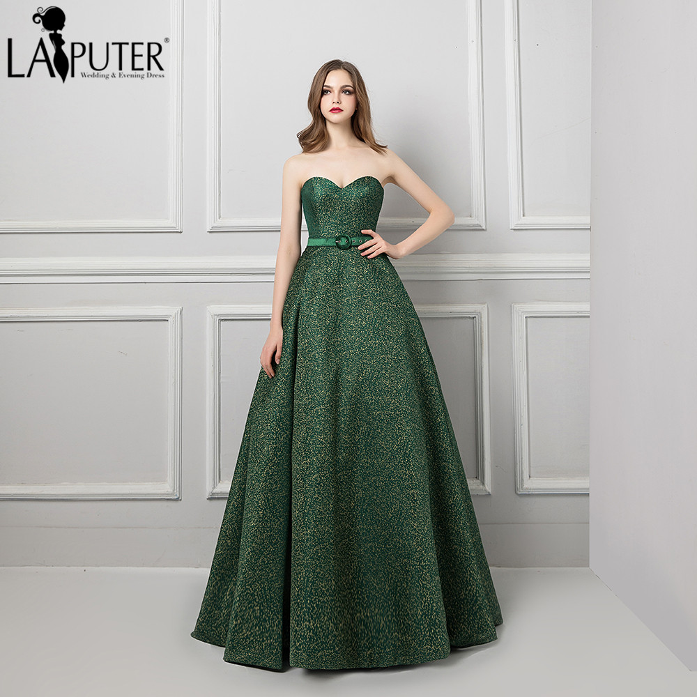 Us 1650 Laiputer 2018 Long Dress Elegant A Line Strapless Lace Up Back Green Evening Prom Gown For Woman In Evening Dresses From Weddings Events