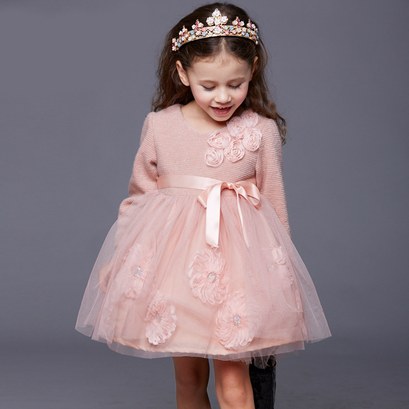 ФОТО children costumes for girls 2017 girls party dress kids solid floral kids wedding dress for girls mesh ball gown kids costumes