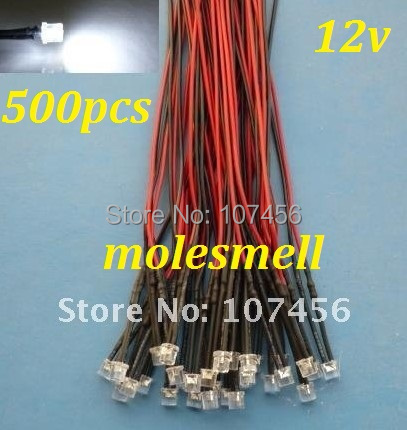 Free shipping 500pcs  5mm Flat Top  White LED Lamp Light Set Pre-Wired 5mm 12V DC Wired 5mm 12v big/wide angle white led