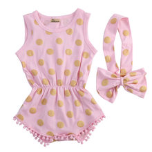Peuter infant pasgeboren meisje gouden stippen romper jumpsuit boog head band 2 stks outfits set sunsuit(China)