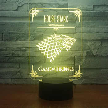 House Stark Game of Thrones Wolf Acrylic Illusion 3D LED Lamp 7 Colors Changing USB Touch Desk Lamp Kid's Birthday Gift Dropship - DISCOUNT ITEM  42% OFF All Category