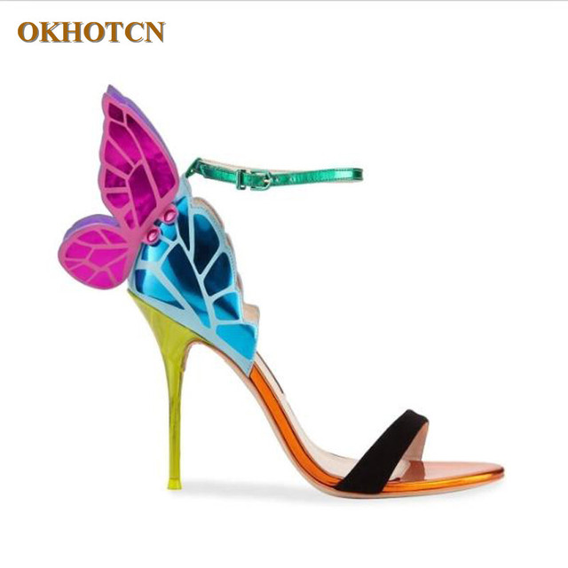 6271a3207c42 Fashion Sexy Colorful Woman Shoes Butterfly Wings Thin High Heels Sandalial  Ankle-Strap Pumps Party Leisure Women Zapatos Mujer