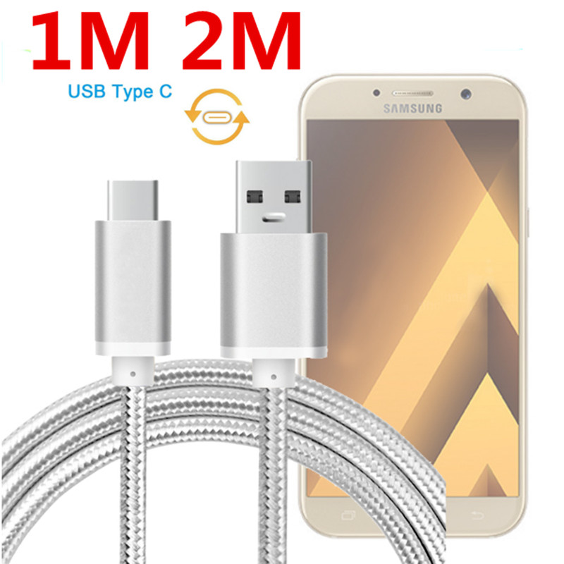 Type C Cable For <font><b>Samsung</b></font> Galaxy A3 2017 A5 2017 <font><b>A7</b></font> 2017 A8 A8+ 2018 Data Sync Long Charging Wire Phone <font><b>Charger</b></font> Cable 1M 2M image