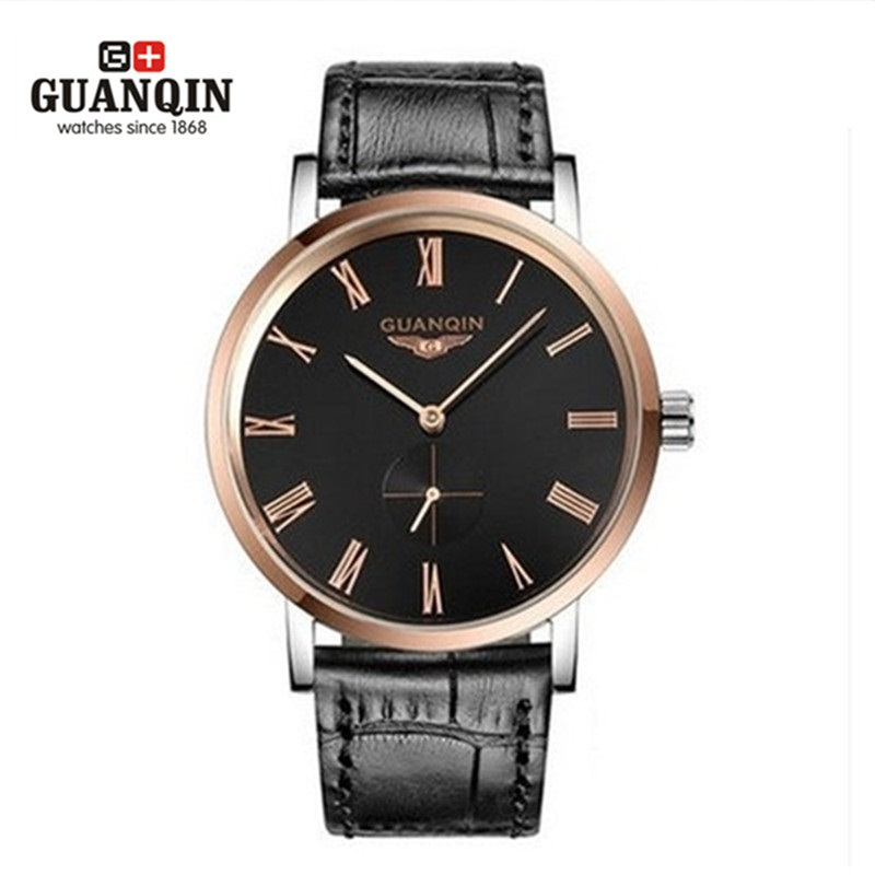 все цены на  High Quality Original GUANQIN Watch Men 2016 Luxury Brand Mechanical Watch Leather Waterproof Men Sale Sapphire Sport Men Watch  онлайн
