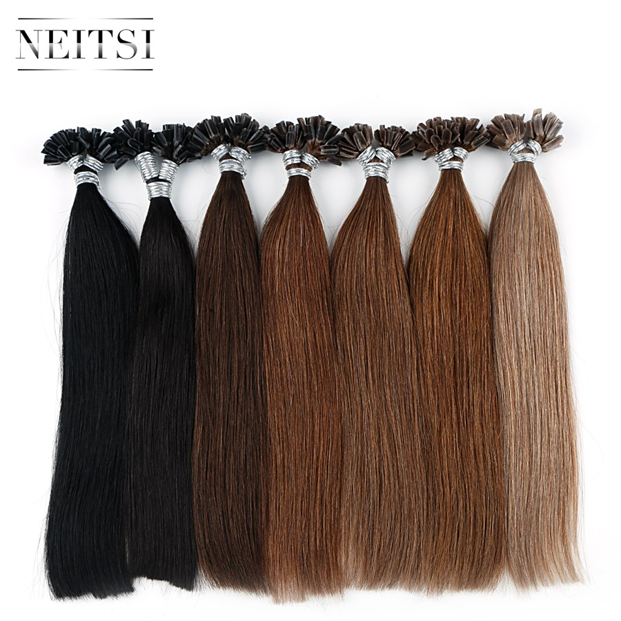 Neitsi Pre Bonded Nail U Tip Machine Made Remy Human Fusion Hair Extensions Straight Keratin Capsules 12