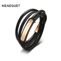 Meaeguet Personalized Engrave Laser Stainless Steel ID Bracelet Bangle Men Black Layered Braided Leather Bracelet Jewelry