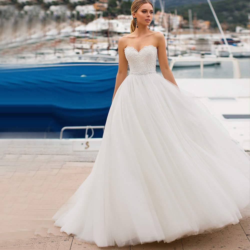 Elegant Sweetheart Corset Wedding Dresses With Pearls Vestidos De Novia White/Ivory Tulle Appliqued Customized Bridal Gown 2019