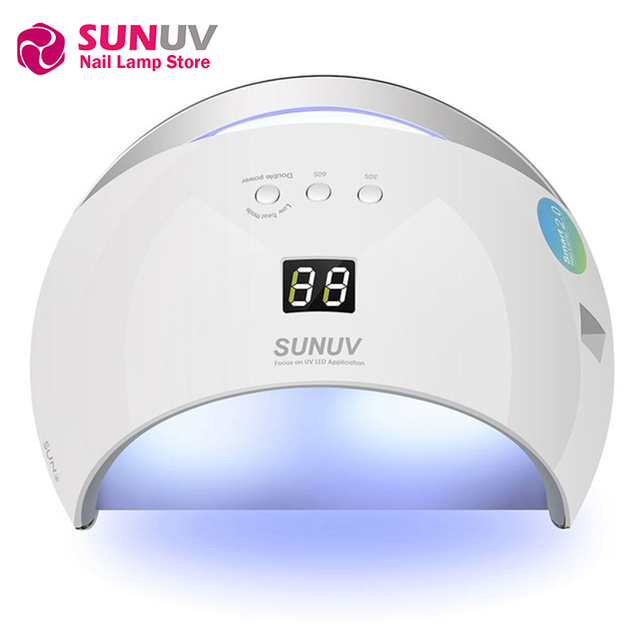 Original SUNUV SUN6 Smart Lamp Nail LED UV Lamp Dryer Metal Bottom LCD Timer for Curing UV Gel Polish Nail Art Tools