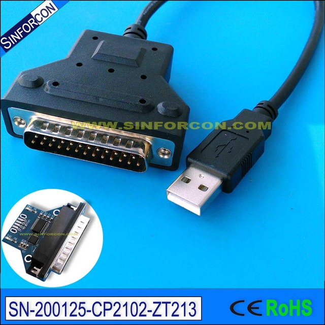 silabs cp2102 usb rs232 to db25 serial printer adapter cable for bar code printer scanner