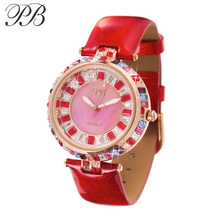 PB Luxury Brand Fashion Women Watch Dress Quartz Watch Genuine Leather Band Wristwatch Water Resistant Ladies Watch HL538