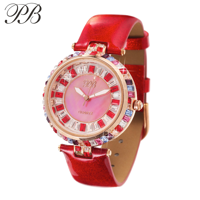 PB Princess Butterfly Fashion Ladies Watch Äkta Läderband Crystal Dial Vattentät Kvarts Klockor Klockor HL538
