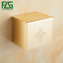 FLG Toilet Paper Holder Rack Wall Mounted Space Aluminum Gold Bathroom Accessories