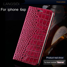 wangcangli brand mobile phone case genuine leather crocodile Flat texture For iPhone 6sp all handmade protection