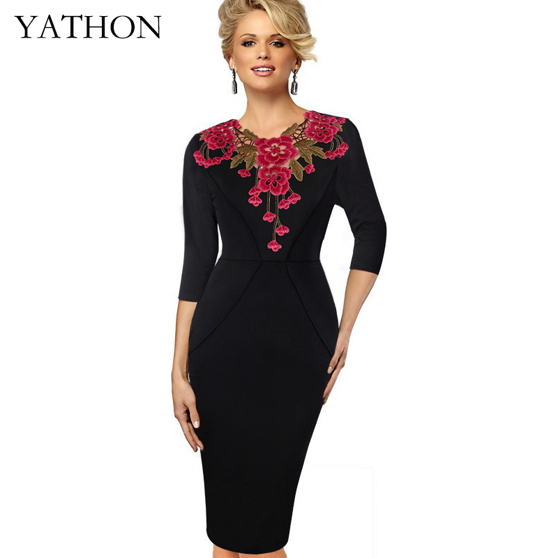 Womens Embroidery Crochet V-neck Office Work Bodycon Dress Autumn Three Quarter Knitted Retro Casual Party Pencil Dresses YATHON plain asymmetric v neck ruffled work bodycon dress