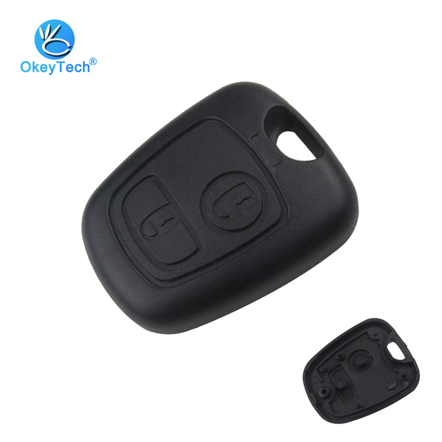 OkeyTech for Peugeot 107 206 207 306 307 407 Citroen Key Shell Front Car Key Fob Replacement 2 Button Remote Blank Cover Case