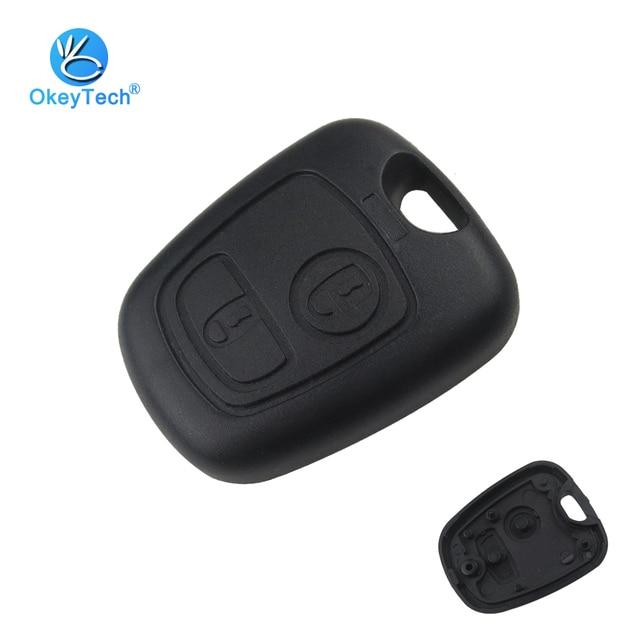 OkeyTech para Peugeot 107 206 207 306 307 407 Citroen carcasa de llave frontal para coche llave Fob reemplazo 2 botones remoto en caso de la cubierta