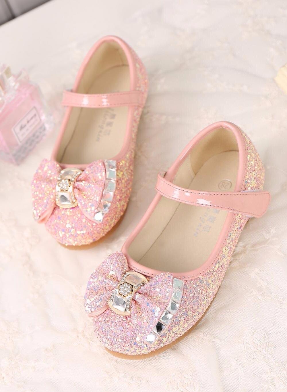 Little Girls Dress Up Shoes Balet Taniec Flat Casual Front Glitter - Obuwie dziecięce - Zdjęcie 5