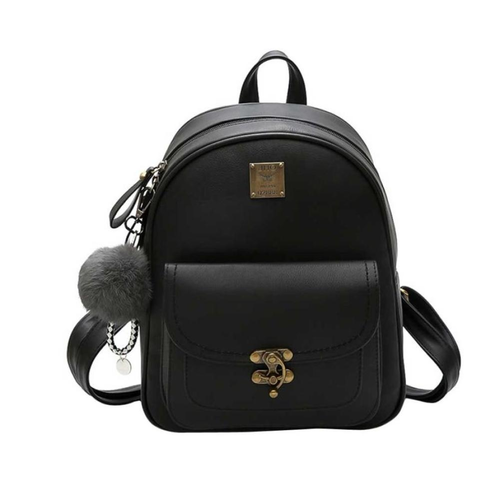 Hairball Retro PU Leather Backpacks Women Vintage Shoulder Backpack School Backpack Rucksack Soft Daypacks Fashion Stachel -12 takem 2018 new women backpack 3 piece set pu leather lady laptop backpacks card package hairball decorative fashion bags