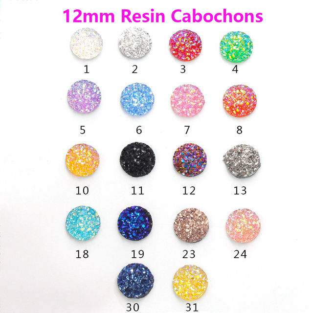 New Fashion 20pcs 12mm Mix Colors Natural Stone Convex Series Flat back Resin Cabochons Jewelry Accessories