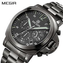 MEGIR Men's Sports Wristwatches Fashion Quartz Watch Men Luxury Brand Stainless Steel Waterproof Watches Clock Relogio Masculino