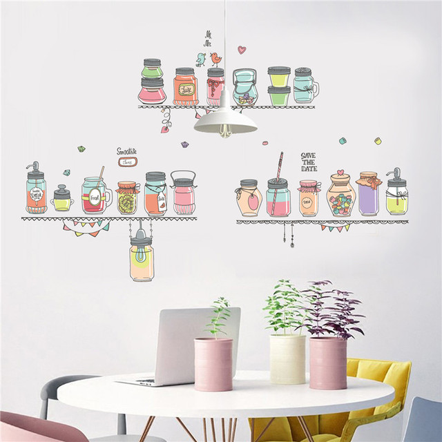 family restaurant wall stickers colorful smoothie fruit juice bottle