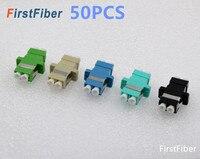 50 PCS LC Adapter LC Connector Fiber Optic Connector Coupler LC PC APC Singlemode Duplex Adapter Flange Multimode