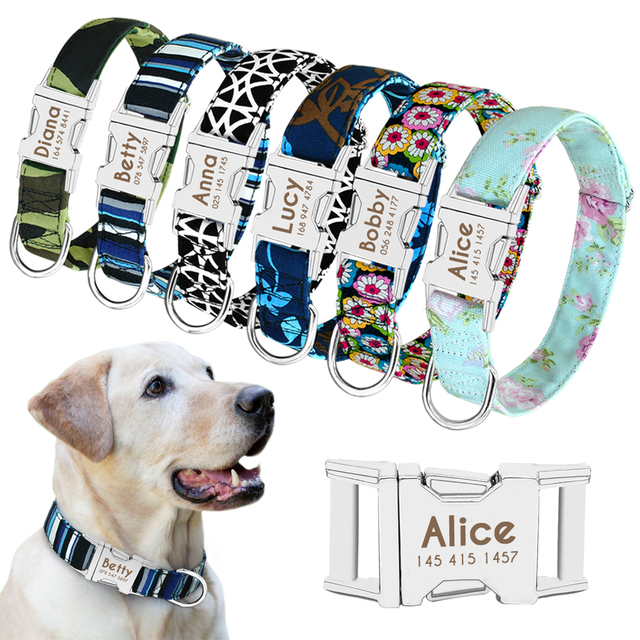 Personalized Engraved Dog Collar Nylon Pet Tag Custom Puppy Cat Nameplate ID Collars Adjustable For Medium Large Dogs