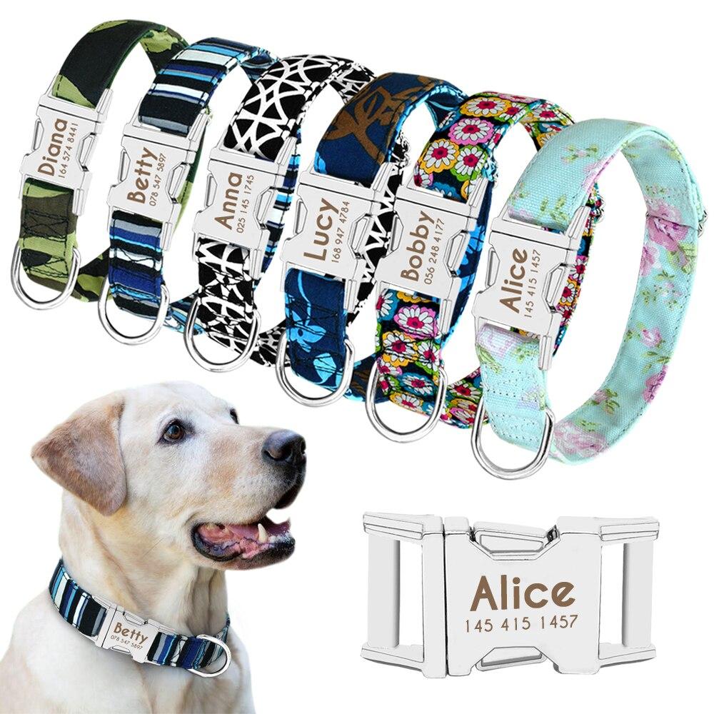 Hond Kraag Gepersonaliseerde Nylon Pet Dog Tag Kraag Custom Puppy Kat Naambord Id Halsbanden Verstelbare Voor Medium Grote Honden Gegraveerd