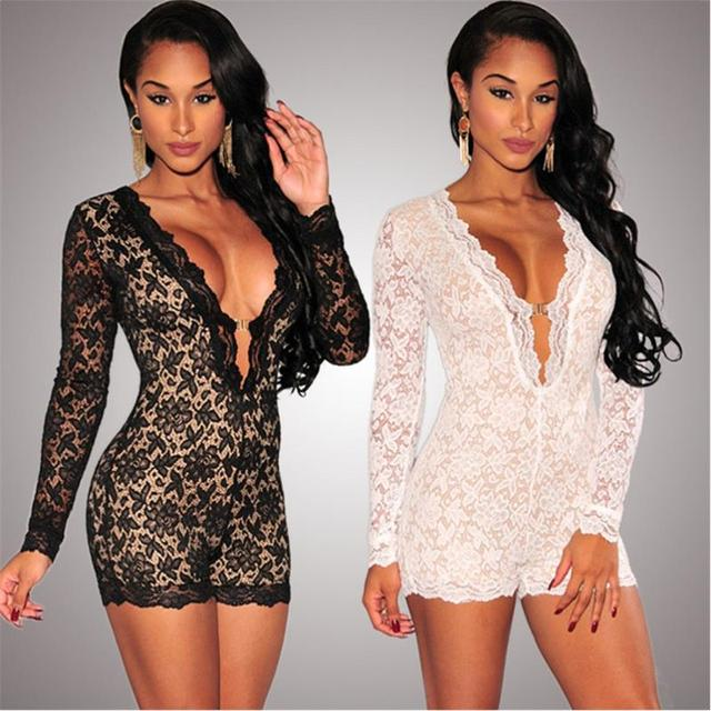 5811d679b6d7 New Sexy Deep-V rompers womens jumpsuit Lace Mesh Patchwork combishort  femme Bodycon Hollow out bodysuit fitness jumpsuit H50