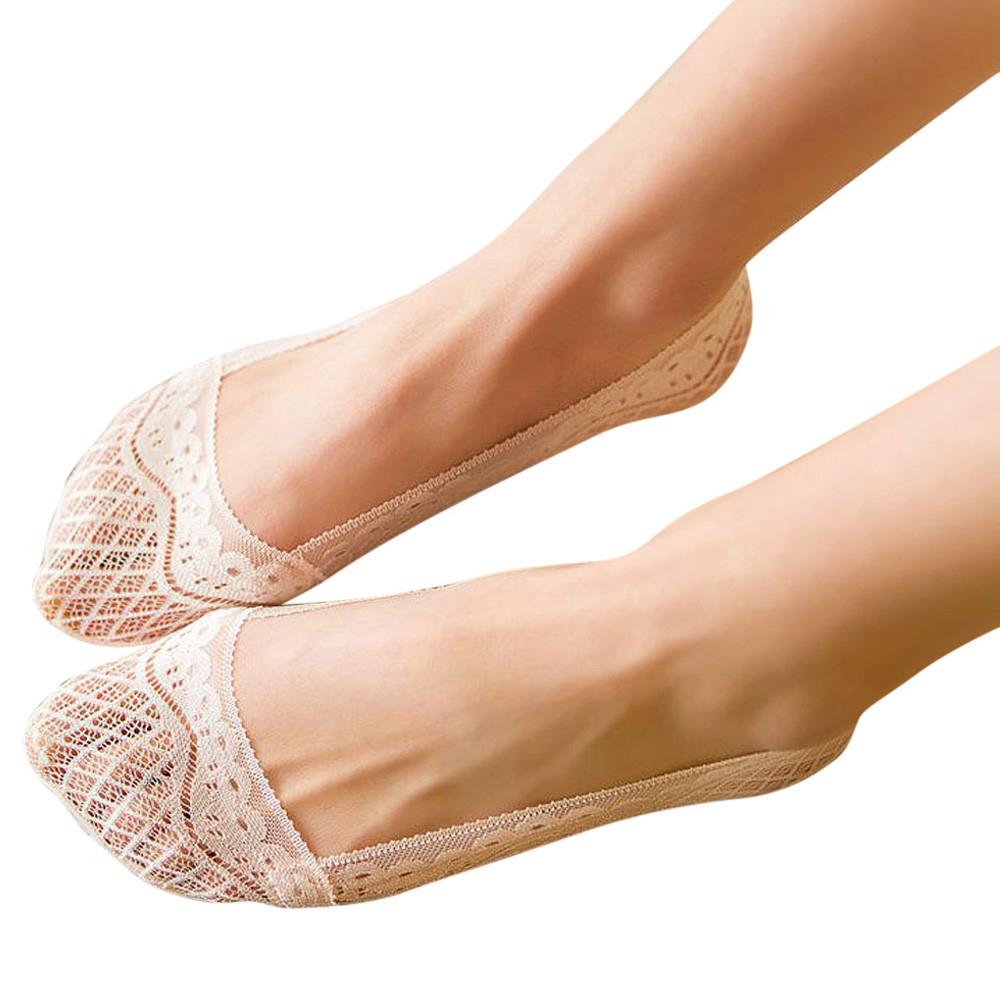 Womail Newly Design 1 Pair Women Summer Lace Silicone Invisible Low Cut Socks Slippers  Drop Shipping