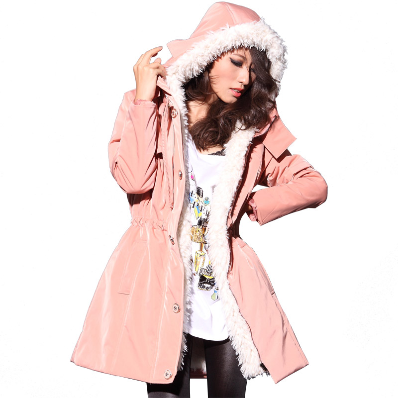 цена Pink/Khaki/Black 2013Outerwear Plus Size Slim Women Parka Winter Thick Lamb's Wool Cashmere Medium Long Cotton Padded Coat D1515 онлайн в 2017 году