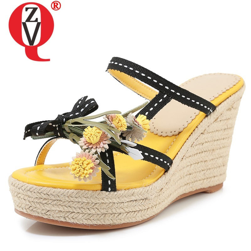 ZVQ woman shoes summer newest fashion sexy flowers woman slippers outside super high wedges platform three colors ladies sandalsZVQ woman shoes summer newest fashion sexy flowers woman slippers outside super high wedges platform three colors ladies sandals