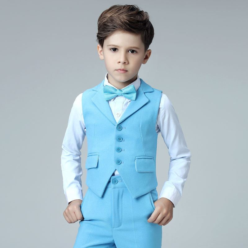 Nouveau enfants garçons costume pour mariage Piano fête enfants garçons gilet + pantalon + chemise + nœud papillon 4 pièces bébé garçon costumes ensembles de vêtements formels Y94