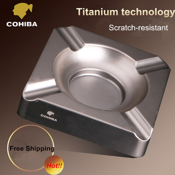 COHOBA High Quality Scratch-resistant Titanium Square Cigar Ashtray Holder 4 Rest with Gift Box